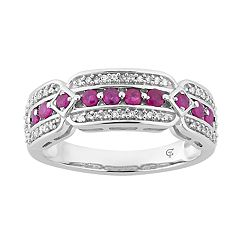 10k White Gold Ruby & 1/5 Carat T.W. Diamond Ring