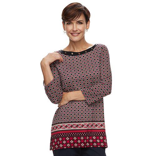 Women's Dana Buchman Embellished Print Tunic