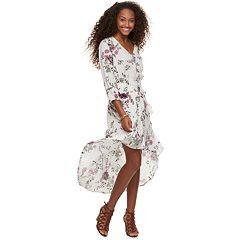 Juniors' American Rag Floral High-Low Crinkle Dress