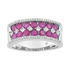 10k White Gold Ruby & 1/6 Carat T.W. Diamond Double Row Ring