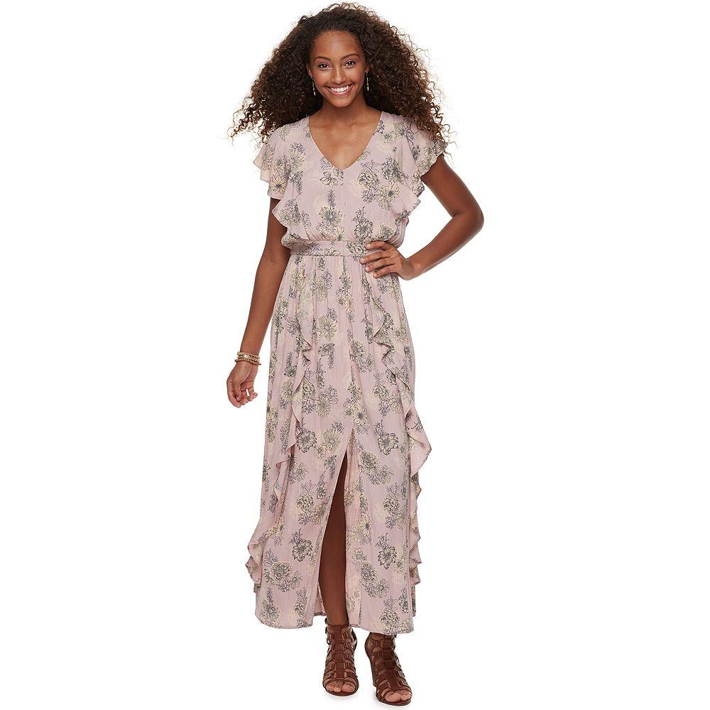 Juniors  American Rag Floral Ruffle Maxi Dress 565bab1dd
