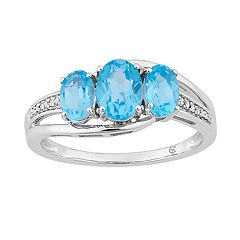 10k White Gold Swiss Blue Topaz & Diamond Accent 3-Stone Ring