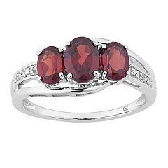 10k White Gold Garnet & Diamond Accent 3-Stone Ring