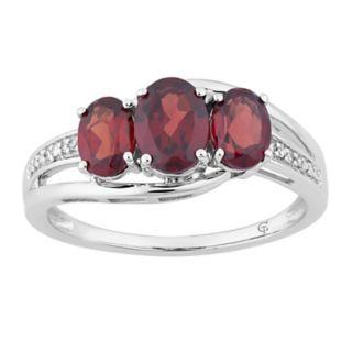10k White Gold Garnet & Diamond Accent 3-Stone Ring