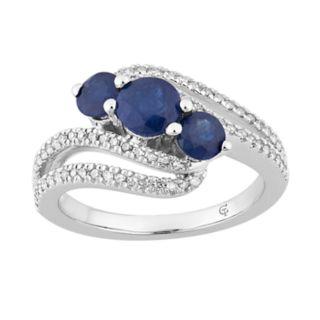 10k White Gold Sapphire & 1/4 Carat T.W. Diamond 3-Stone Bypass Ring