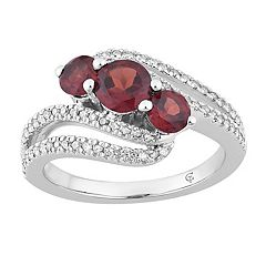 10k White Gold Garnet & 1/4 Carat T.W. Diamond 3-Stone Bypass Ring