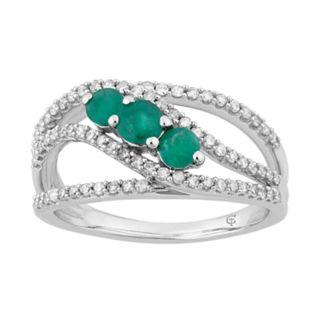 10k White Gold Emerald & 1/2 Carat T.W. Diamond 3-Stone Ring
