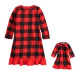 Toddler Girl Jammies For Your Families Thanksgiving Buffalo Checkered Nightgown & Doll Gown Pajama Set