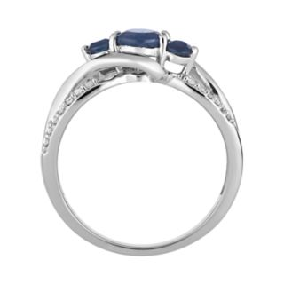 10k White Gold Sapphire & 1/6 Carat T.W. Diamond 3-Stone Ring