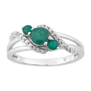 10k White Gold Emerald & 1/8 Carat T.W. Diamond 3-Stone Ring