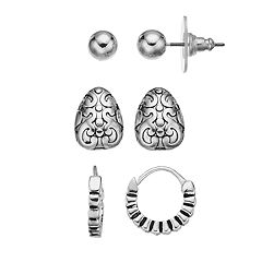 Napier Silver Tone Stud & Hoop Earring Set