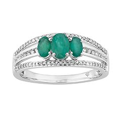 10k White Gold Emerald & 1/4 Carat T.W. Diamond 3-Stone Ring