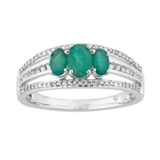 10k White Gold Emerald & 1/4 Carat T.W. Diamond 3-Stone Ring