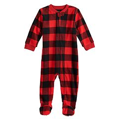 Baby/Infant Jammies For Your Families Thanksgiving Buffalo Checkered Microfleece Blanket Sleeper One-Piece Pajamas