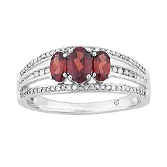 10k White Gold Garnet & 1/4 Carat T.W. Diamond 3-Stone Ring