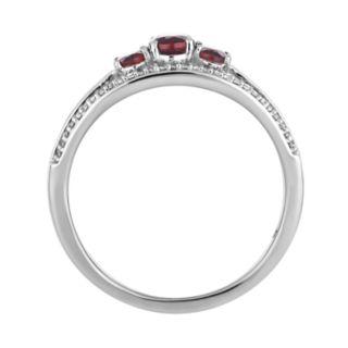 10k White Gold Garnet & 1/4 Carat T.W. Diamond 3-Stone Ring