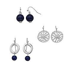 Silver Tone Blue Bead Drop Earring Set