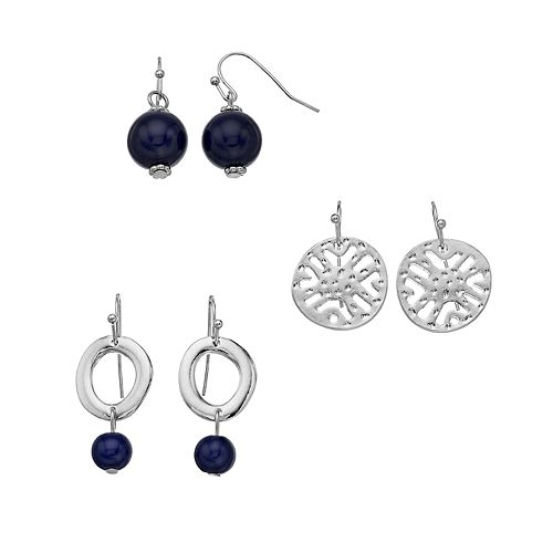 Silver Tone Blue Bead Drop Earring Set