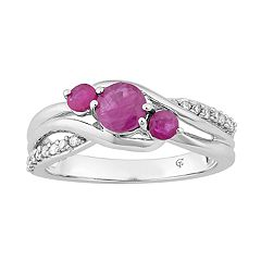 10k White Gold Ruby & 1/8 Carat T.W. Diamond 3-Stone Ring