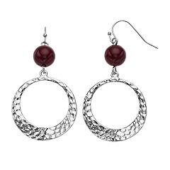 Red Nickel Free Hammered Hoop Drop Earrings