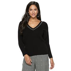 Women's Jennifer Lopez Caviar-Trim Ribbed V-Neck Sweater