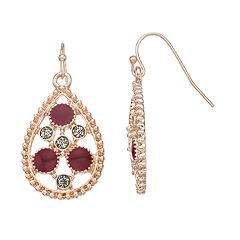 Rose Gold Tone Red Teardrop Earrings