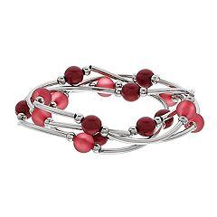 Silver Tone Red Bead Stretch Bracelet Set