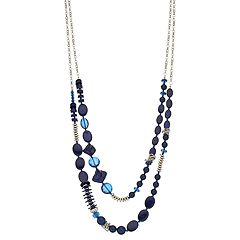 Blue Bead Long Multi Strand Necklace