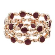 Rose Gold Tone Red Bead Stretch Bracelet Set