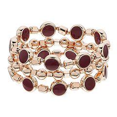 Rose Gold Tone Red Bead Stretch Bracelet Set