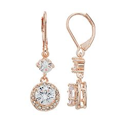 Napier Cubic Zirconia Halo Drop Earrings