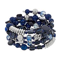 Silver Tone Blue Bead Coil Bracelet