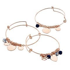 Rose Gold Tone Blue Bead & Disc Charm Bangle Bracelet Set