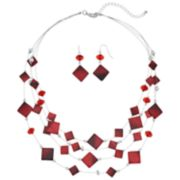 Red Nickel Free Multi Strand Necklace & Drop Earring Set