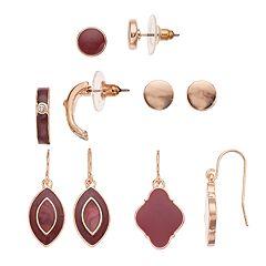 Red Nickel Free Semi Hoop, Drop & Stud Earring Set