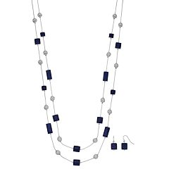Double Strand Blue Rectangle & Square Necklace & Drop Earring Set