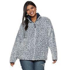 Juniors' Plus Size SO® 1/4-Zip Sherpa Top