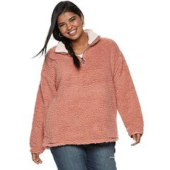 Juniors' Plus Size SO® 1/4-Zip Sherpa Top
