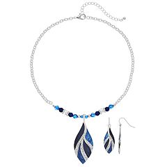 Leaf Pendant Necklace & Earring Set