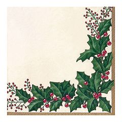 Winter Holly Beverage Paper Napkins - 36-ct.