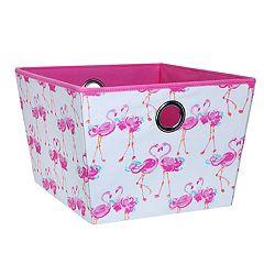 Laura Ashley Lifestyles Pretty Flamingo Medium Grommet Storage Tote