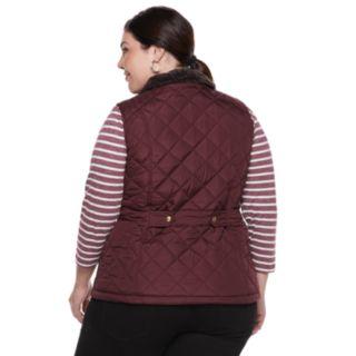 Plus Size Weathercast Faux-Fur Lined Quilted Vest