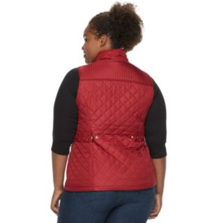 Plus Size Weathercast Quilted Velour-Lined Vest