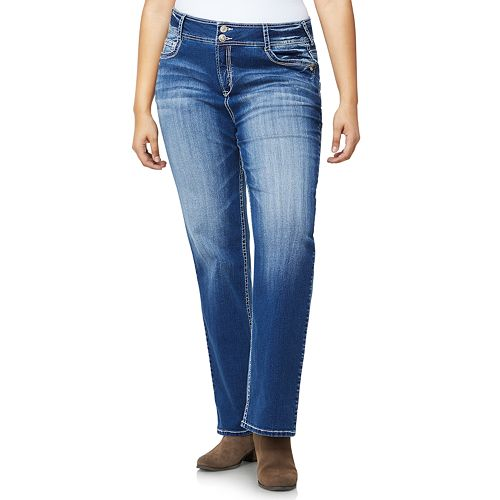Juniors' Plus Size Wallflower Double-Button Luscious Curvy Bootcut Jeans