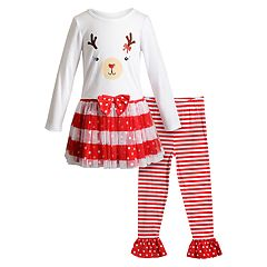 Girls 4-6x Youngland Reindeer Tulle Dress & Striped Leggings Set
