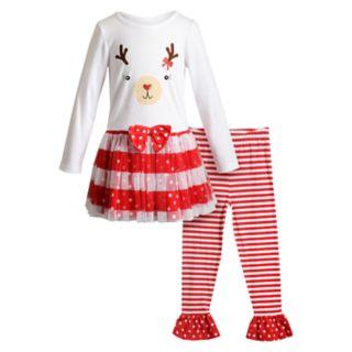 Girls 4-6x Youngland Reindeer Tulle Dress & Striped Leggings Set