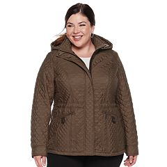 Plus Size Weathercast Hooded Quilted Anorak Jacket