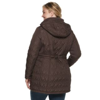 Plus Size Weathercast Hooded Quilted Anorak Walker Jacket