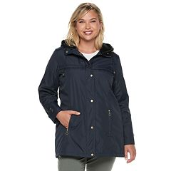 Plus Size Weathercast Hooded Bonded Rain Jacket