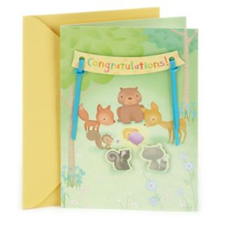 """Hallmark Baby Congratulations """"Animals in the Woods"""" Greeting Card"""